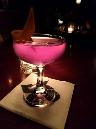A Deep purple @ Mojo Record Bar in Sydney CBD - Sabre, creme de Violette, cranberry tea, citrus sugar