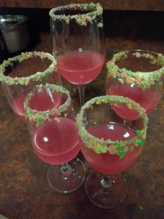 Homemade cocktail - Vodka, guava sparkling drink, lemonade ice, with popping candy rim